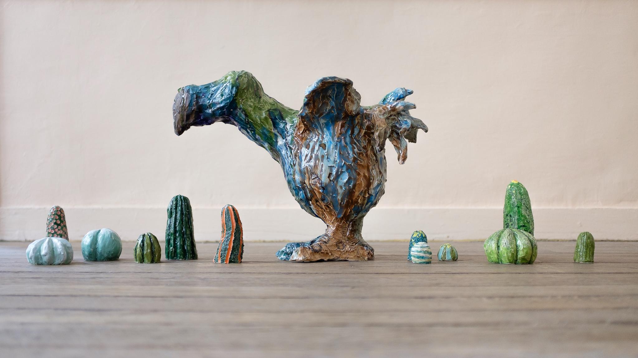 Dodo, Marina Le Gall 52 x 34 x 24cm &Cactus, Agathe Brahami Ferron,céramique émaillée.