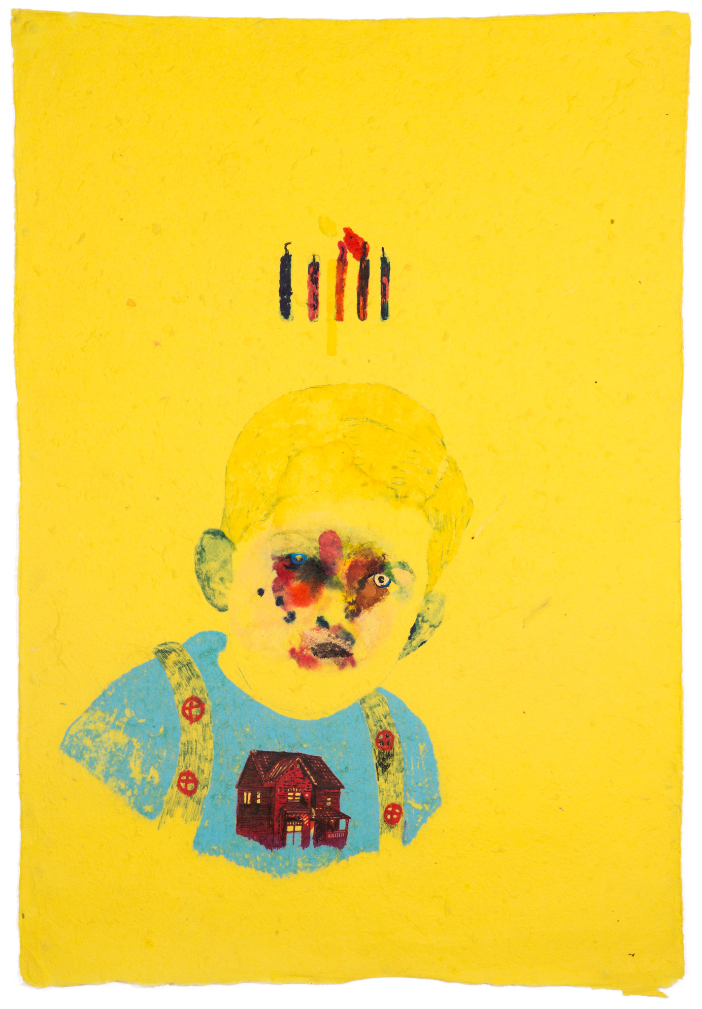 Yoann Estevenin Happy Birthday, 2017 Pastel, watercolor, marker and ballpoint pen on mulberry paper 80 × 55 cm